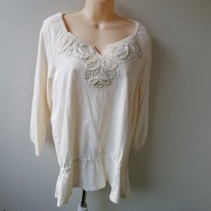 Women's Ivory Embroidered Sequin Top